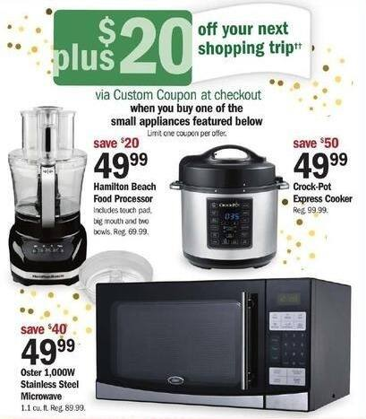 Meijer Black Friday: Oster 1000W Stainless Steel Microwave + $20 Custom Coupon for $49.99