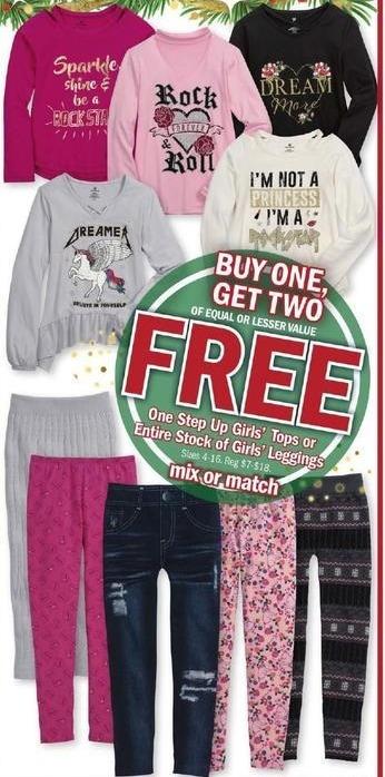 Meijer Black Friday: One Step Up Girls' Tops or Entire Stock Girls' Leggings - B1G2 Free