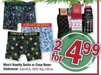Meijer Black Friday: (2) Men's Novelty Socks or Crazy Boxer Underwear for $4.99