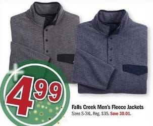 Meijer Black Friday: Falls Creek Men's Fleece Jackets for $4.99