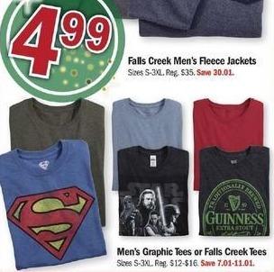 Meijer Black Friday: Men's Graphic Tees or Falls Creek Tees for $4.99