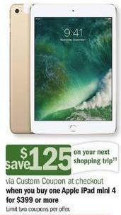 Meijer Black Friday: Apple iPad Mini 4 Tablet + $125 Custom Coupon - Starting at $399