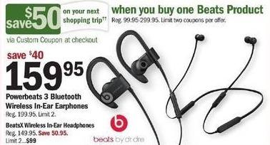 Meijer Black Friday: Powerbeats 3 Bluetooth Wireless In-Ear Earphones + $50 Custom Coupon for $159.95