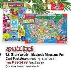 Meijer Black Friday: T.S. Shure Wooden Magnetic Maps and Fun Card Pack Assortment for $6.99 - $14.99