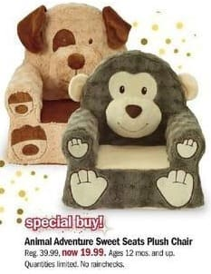 Meijer Black Friday: Animal Adventures Sweet Seats Plush Chair for $19.99