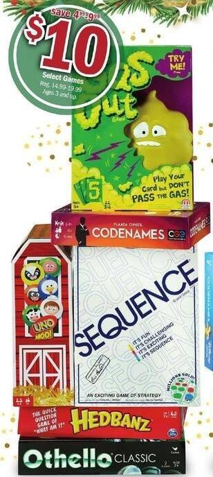 Meijer Black Friday: Select Games: Sequence, Hedbanz, Codenames & More for $10.00