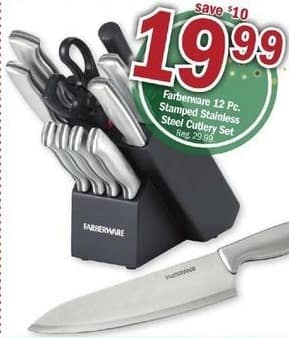 Meijer Black Friday: Farberware 12-pc Stamped Stainless Steel Cutlery Set for $19.99