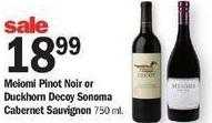 Meijer Black Friday: Meiomi Pinot Noir or Duckhorn Decoy Sonoma Cabernet Sauvignon for $18.99