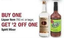 Meijer Black Friday: Spirit Mixer w/ Purchase of 750mL or Larger Liquor - $2 Off
