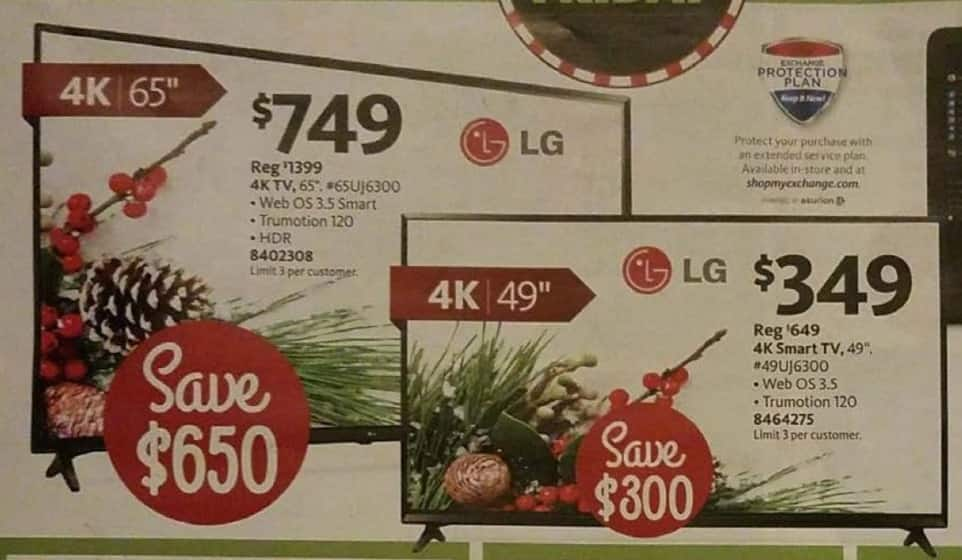 "AAFES Black Friday: 65"" LG 65UJ6300 4K Smart TV for $749.00"