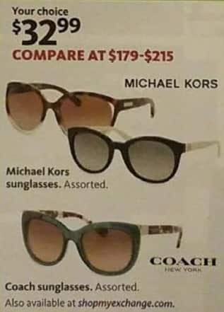 AAFES Black Friday: Michael Kors or Coach Sunglasses, Select Styles for $32.99