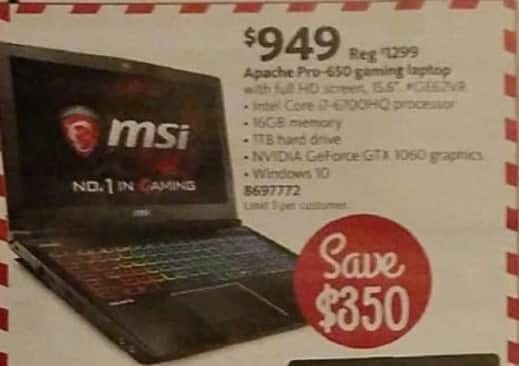 "AAFES Black Friday: MSI Apache Pro-650 15.6"" Gaming Laptop: Intel i7-6700HQ, 1TB, 16GB, Win 10 for $949.00"
