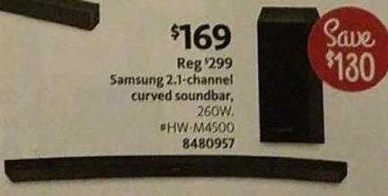 AAFES Black Friday: Samsung 2.1-Channel 260W Curved Soundbar (HW-M4500) for $169.00