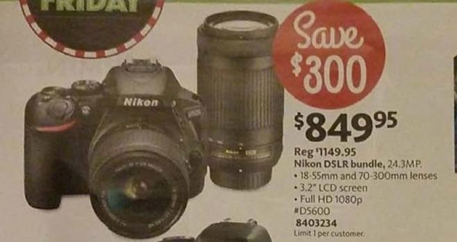 AAFES Black Friday: Nikon D5600 DSLR Camera + 18-55mm Lens + 70-300mm Lens for $849.95