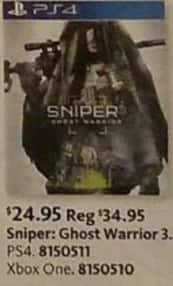 AAFES Black Friday: Sniper: Ghost Warrior 3 (PS4/Xbox One) for $24.95
