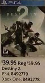AAFES Black Friday: Destiny 2 (PS4/Xbox One) for $39.95