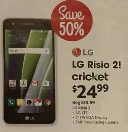 AAFES Black Friday: LG Risio 2 Cricket Wireless Prepaid Smartphone for $24.99