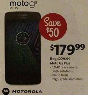 AAFES Black Friday: Moto G5 Plus Unlocked Smartphone for $179.99