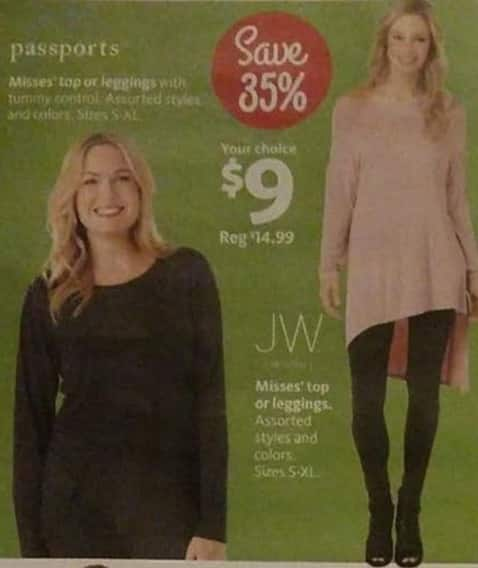 AAFES Black Friday: Passports or JW Misses Top or Leggings for $9.00