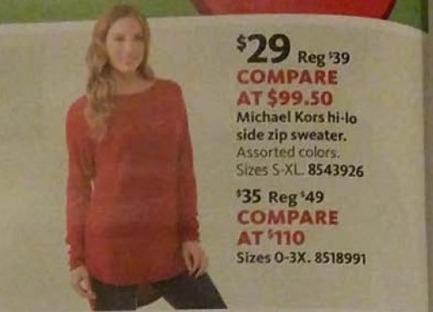 AAFES Black Friday: Michael Kors Women's Hi-Lo Side Zip Sweater for $29.00