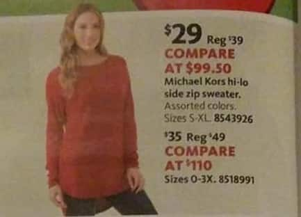 AAFES Black Friday: Michael Kors Women's Plus Hi-Lo Side Zip Sweater for $35.00