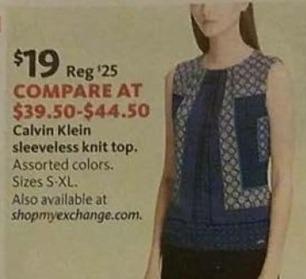 AAFES Black Friday: Calvin Klein Women's Sleeveless Knit Top for $19.00