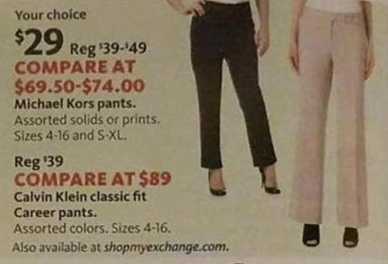 AAFES Black Friday: Michael Kors or Calvin Klein Women's Classic Fit Career Pants for $29.00