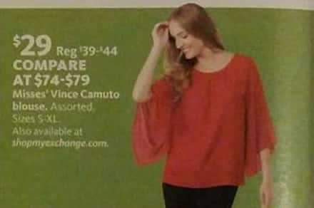 AAFES Black Friday: Vince Camuto Misses' Blouse for $29.00