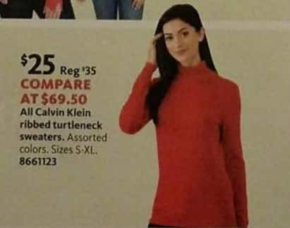 AAFES Black Friday: All Calvin Klein Women's Ribbed Turtleneck Sweaters for $25.00