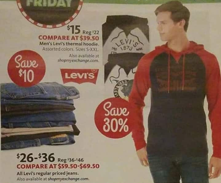 AAFES Black Friday: Levi's Men's Thermal Hoodie for $15.00
