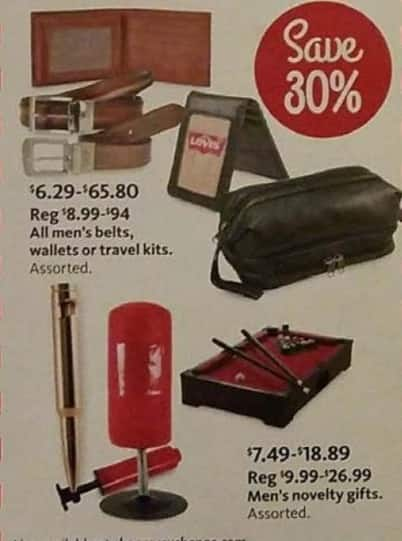 AAFES Black Friday: All Men's Belts, Wallets, and Travel Kits or Assorted Men's Novelty Gifts - 30% Off