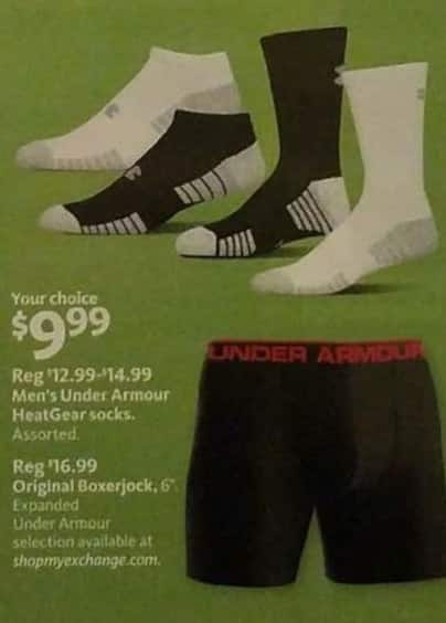 AAFES Black Friday: Under Armour Men's HeatGear Socks or Original Boxerjock for $9.99