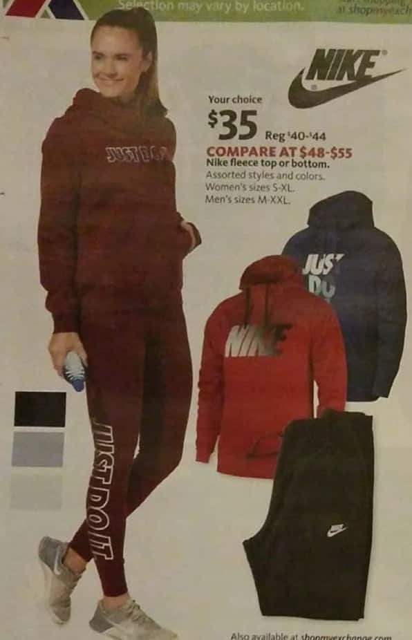 AAFES Black Friday: Nike Men's or Women's Fleece Tops or Bottoms for $35.00