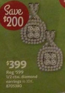 AAFES Black Friday: 1/2-ct T.W. Diamond 10k Gold Earrings for $399.00