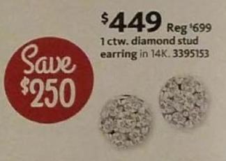 AAFES Black Friday: 1-ct T.W. Diamond 14k Gold Stud Earring for $449.00