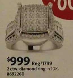 AAFES Black Friday: 2-ct T.W. Diamond 10k Gold Ring for $999.00