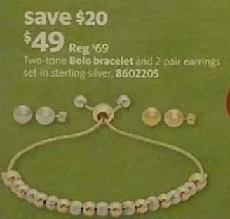 AAFES Black Friday: Two-Tone Bolo Bracelet and 2 Pair Earrings for $49.00