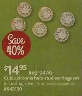 AAFES Black Friday: Cubic Zirconia Halo Stud Earrings Set for $14.95