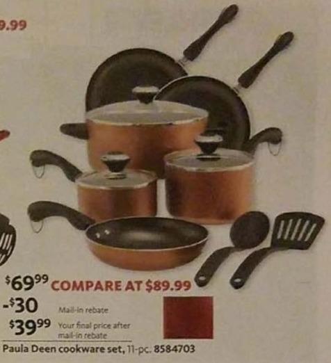 AAFES Black Friday: Paula Deen 11-pc Cookware Set for $39.99 after $30.00 rebate