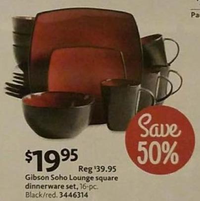 AAFES Black Friday: Gibson Soho Lounge 16-pc Square Dinnerware Set for $19.95
