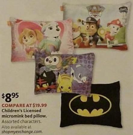 AAFES Black Friday: Children's Licensed Micromink Bed Pillow for $8.95