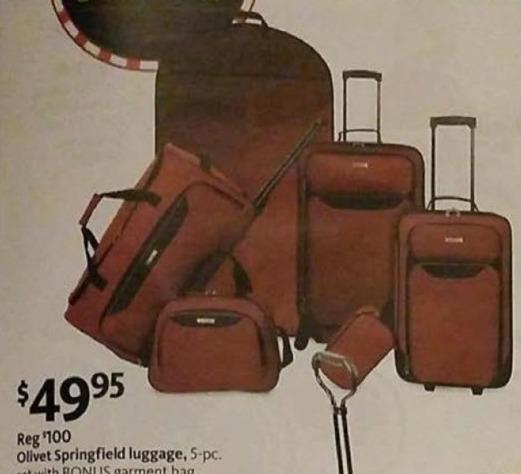 AAFES Black Friday: Olivet Springfield 5-pc Luggage Set + Garment Bag for $49.95