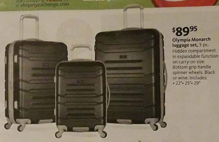 AAFES Black Friday: Olympia Monarch 3-pc Luggage Set for $89.95