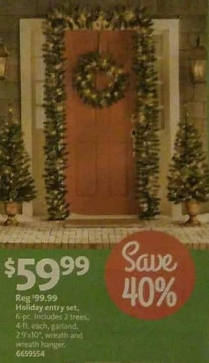 AAFES Black Friday: 6-pc Holiday Entry Set: Two 4-ft Trees, Garland, Wreath and Wreath Hanger for $59.99