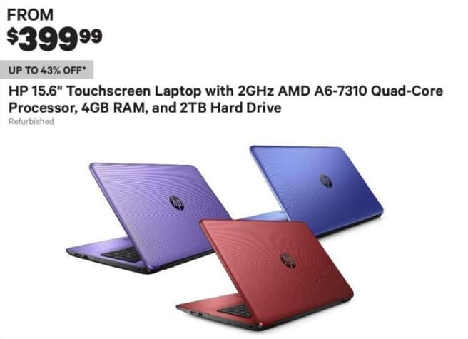 "Groupon Black Friday: HP 15.6"" Touchscreen Laptop: AMD A6-7310, 2TB, 4GB (Refurbished) - From $399.99"