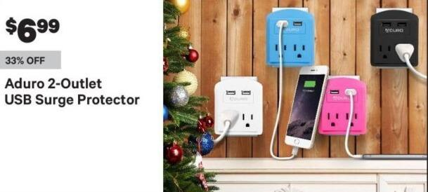 Groupon Black Friday: Aduro 2-Outlet USB Surge Protector for $6.99