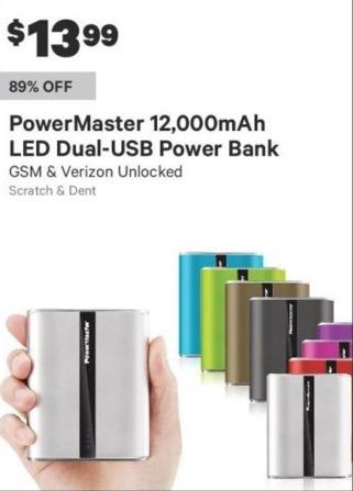 Groupon Black Friday: PowerMaster 12,000mAh LED Dual-USB Power Bank for $13.99