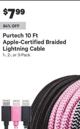 Groupon Black Friday: Purtech 10-ft Apple-Certified Braided Lightning Cable for $7.99