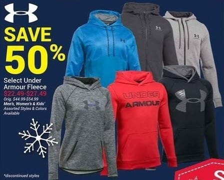 Olympia Sports Black Friday: Under Armour Men's, Women's and Kids' Fleece, Select Styles for $22.49 - $27.49