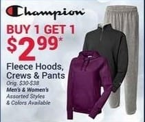 Olympia Sports Black Friday: Champion Men's or Women's Fleece Hoods, Crews and Pants, Assorted Styles - B1G1 for $2.99